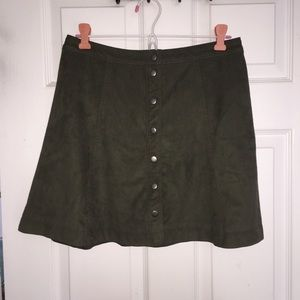 Abercrombie & Fitch Army Green Suede Skirt